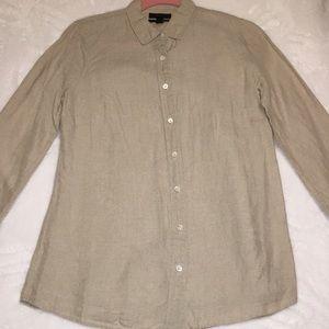 J. Crew Tan Linen Button-Down (Size 4)
